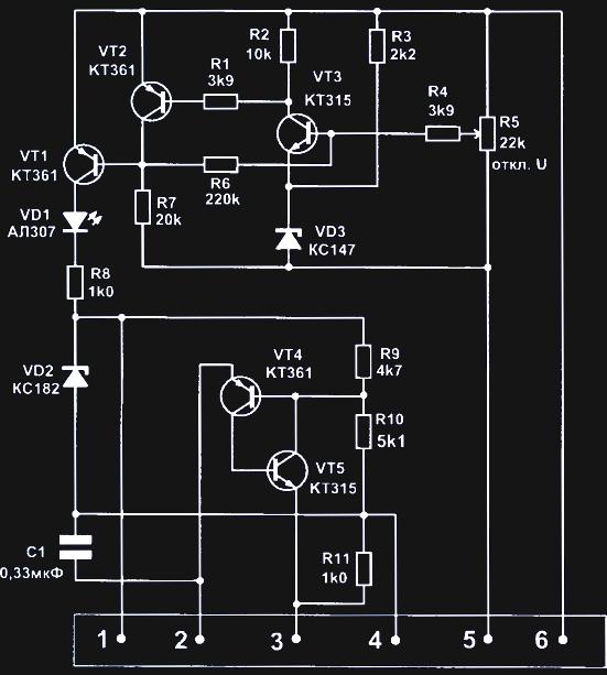 схема управления автоматического зарядного устройства